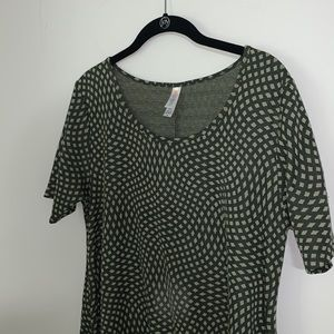 LULAROE - Green Patterned Classic T